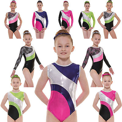 Gymnastics Leotards Girls Gym Leotard Lycra Metallic Sleevless Sleeved UK