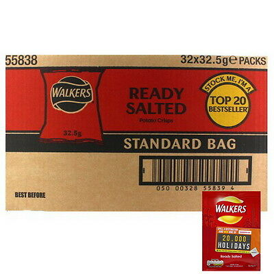 Box of 32 Walkers Ready Salted Crisps (32.5g bags)
