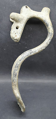 Large Roman Bronze Vessel Handle With Bull Head Decoration 1St Century