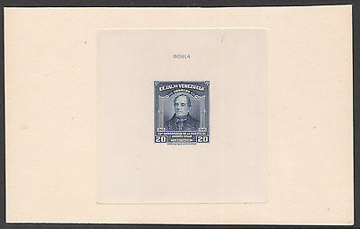 VENEZUELA 1946 NUMBERED DIE PROOF affixed to THICK CARD IMPERF STAMP of Sc#392