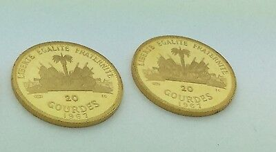 2 1967 Haiti Hatian 20 Gourdes Gold Coins Excellent condition needs to be graded