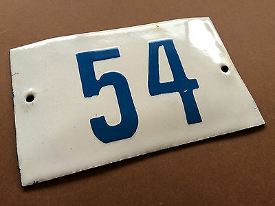 VINTAGE ENAMEL SIGN TIN PORCELAIN HOUSE NUMBER 54 DOOR GATE WHITE BLUE 1950's