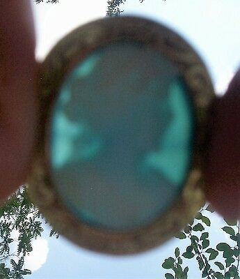 14K Solid Gold Blue Carved High Detailed Relief Victorian Cameo Brooch