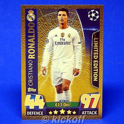 Match Attax Champions League 2015-2016: RONALDO Limited Edition Gold. Silver UCL