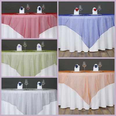 """24 pcs WHOLESALE Lot Sheer Organza 90x90"""" SQUARE Table OVERLAYS Wedding Party"""