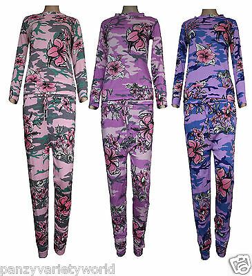 New Flower Camouflage Print Girls Tracksuit Kids Jogging suit summer Age 2-13
