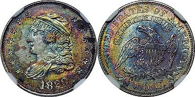 1829 NGC MS61 Capped Bust Half Dime Rainbow Tone Colors!