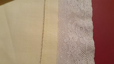 Yellow allencon tambour French linen tablecloth + 4 napkins vintage FYEO