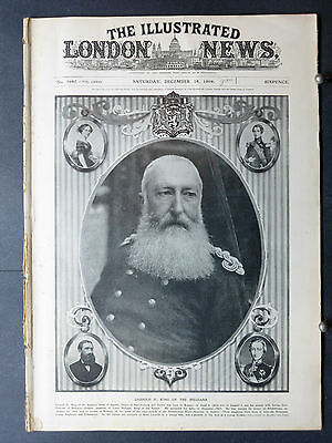 1909-ILLUSTRATED LONDON NEWS-Leopold King of Belgium,Fire Fighters,Tenerife Lava