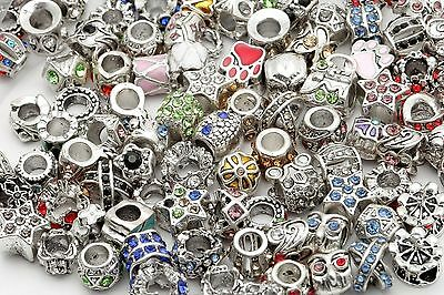 20pcs Crystal Silver Plated Lots Mixed Big Hole Beads For Charms Bracelet Europe