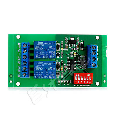 DC 12V 2CH RS485 Relay Modbus Board RTU AT command Switch Module PLC LED Motor