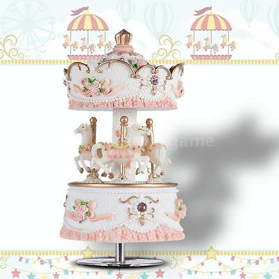 Laxury Windup 3-horse Carousel Music Box Gift Melody Castle in the Sky Pink D9P2
