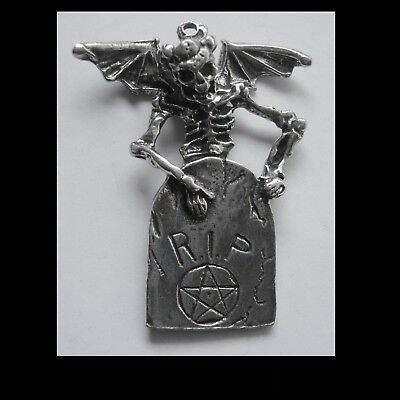 PEWTER CHARM #1236 WINGED SKELETON R.I.P (47mm x 38mm) 1 bail