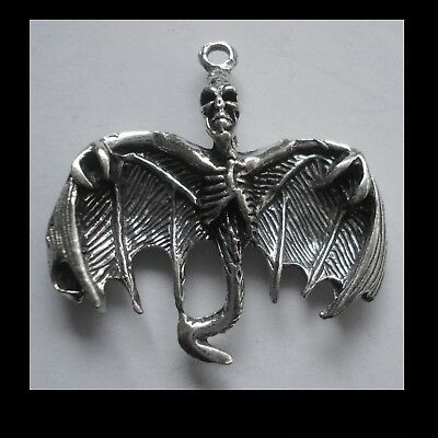 PEWTER CHARM #1237 SKELETON BAT (37mm x 36mm) 1 bail pendant