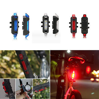 Rear Safety 5 LED Bicycle Cycling Tail USB Rechargeable Red Warning Light Bike