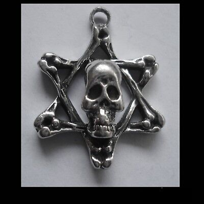 PEWTER CHARM #1238 SKULL STAR PENDANT (31mm x 24mm) 1 bail