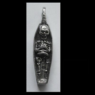 PEWTER CHARM #1239 SKELETON COFFIN PENDANT (44mm x 10mm) 1 bail
