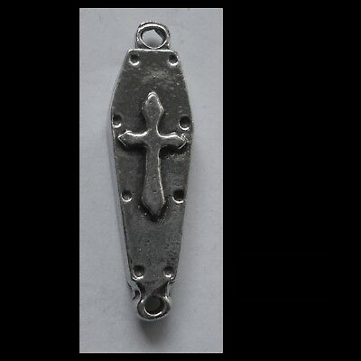 PEWTER CHARM #1242 COFFIN JOINER PENDANT (36mm x 10mm) 2 bail