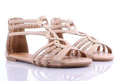 Beige Casual Summer Gladiator Faux Leather Zip Open Sexy Womens Sandals Shoes