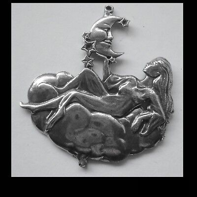 PEWTER CHARM #1272 MOON GODDESS 2 bail joiner PENDANT (57mm x 51mm)