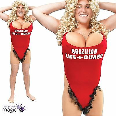 Adult Mens Hairy Mary Lifeguard Swimsuit Funny Stag Do Party Fancy Dress Costume