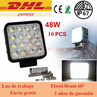 10x 48W Flood Lamp Led Work Light Boat 12V 24V Tractor Truck Offroad 4X4 UTE 4WD