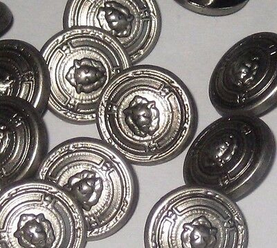 set 15 High Relief LION picture vintage new satin SILVER tone buttons 16mm 5/8""