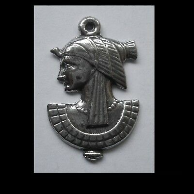 PEWTER CHARM #1301 EGYPTIAN WOMAN PENDANT (35mm x 22mm) 1 bail