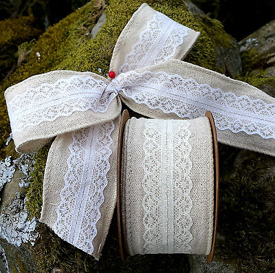1/2 / 1m 50mm WIRED NATURAL LINEN +LACE RIBBON,VINTAGE,RUSTIC,SHABBY CHIC