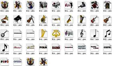 Musical Instruments Brother Machine Embroidery Designs PES CD,USB