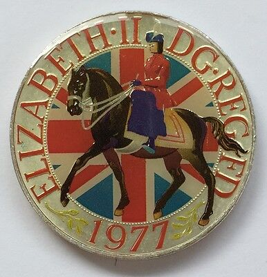 1977 QEII Silver Jubilee Enamelled Crown coin, boxed - Free Postage