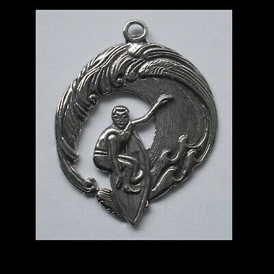 PEWTER CHARM #1307 SURFER ON WAVE (36mm x 29mm) 1 bail PENDANT