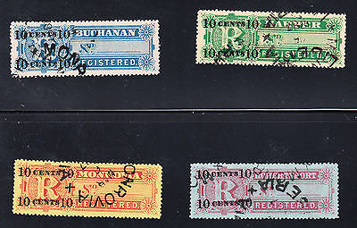 Liberia # F6-9 USED Complete 1894 Registration Issue CV $22