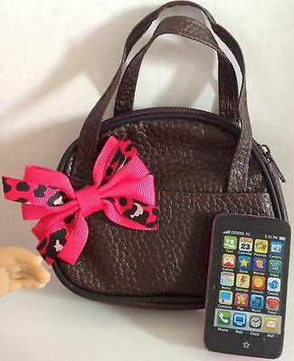 "Purse & Phone for American Girl Doll Pink Cheetah 18"" Accessories Set"
