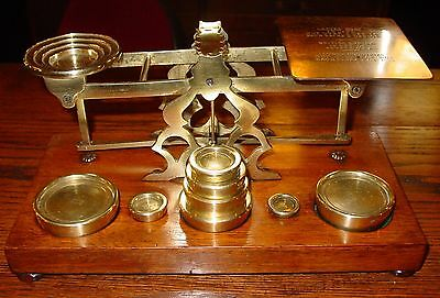 Larger postal letter desk scale-wood & brass by Mordan--11 brass weights---15297