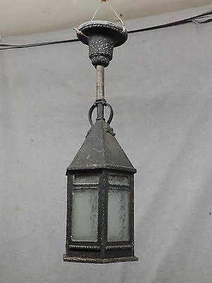 Antique Mission Porch Ceiling Light Fixture Iced Glass Panels Old Vinatge 724-16