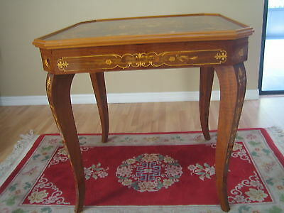 Vintage Italian Exotic Wood Game Table Roulette, Backgammon, Chess, Cards