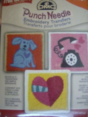 DMC Punch From The Heart With 9 Iron-On Transfers- Puppy, Balloons, Telephone