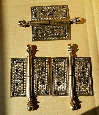"AWESOME SET OF 3 BRASS/BRONZE VICTORIAN DOOR HINGES 4 1/2 x 4 1/2 "" PAT'D 1883"