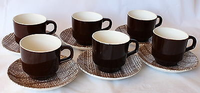Vintage KELSTON SEAGRASS 6 Cups & Saucers New Zealand Retro Sea Grass