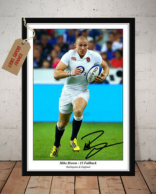 Mike Brown England Rugby Six Nations Autographed Signed Photo Print
