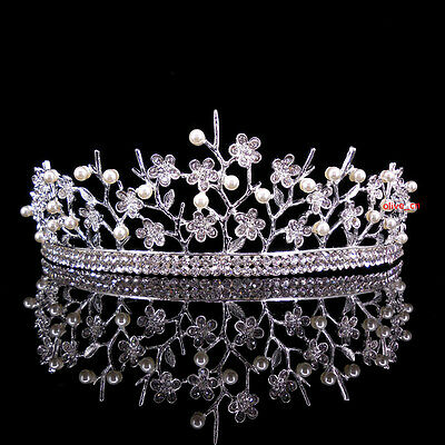 5cm High Little Flower Pearl Crystal Adult Big Tiara Crown Wedding Prom Party