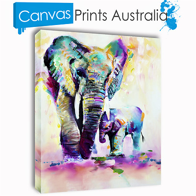 Elephant Painting Stretched Canvas Prints Wall Art Home Decor Different Sizes