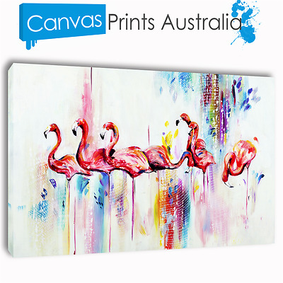 Flamingo Painting Stretched Canvas Prints Wall Art Home Decor Sizes Gift