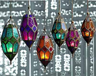 Moroccan Coloured Lantern Tea Light Tealight Holder Hanging Home Garden Gift New