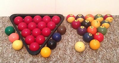 """Vintage Snooker And Billard Pool Ball Sets BOTH COMPLETE W/ Cue And Rack 2"""" Ball"""
