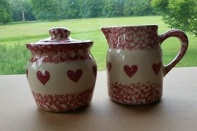 Henn Pottery friendship heart cranberry pitcher creamer sugar compote with lid