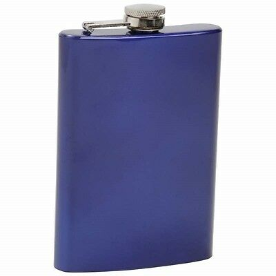 8oz METALLIC BLUE FLASK Stainless Steel Screw Cap Hip Pocket Liquor Whiskeyl
