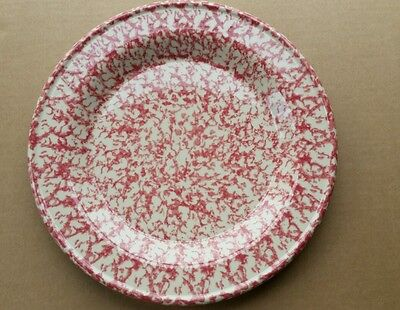 Henn Pottery 10 Inch Dinner Luncheon Plate Cranberry Red Spongewear (#15)