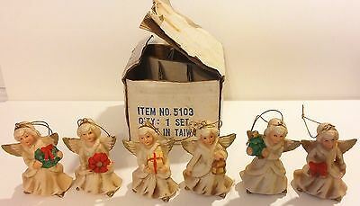 Set Of 6 Homco Porcelain Christmas Angel Ornaments 5103 - Taiwan
